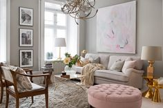 Stockholm Vitt - Interior Design: A Lovely Home Feminine Apartment, Deco Rose, Living Room Accessories, Living Room Inspiration, Cozy House, Luxury Furniture, Furniture Design, Home And Living, Living Room Decor