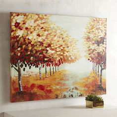 Our enchanting window into autumn portrays a walkway along a picture-perfect wooded path. The scene offers visual interest while complementing any color scheme in your home for years to come.