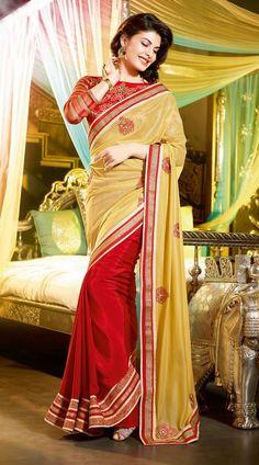 Red Jacqueline Fernandez Bollywood Designer Saree 3H1011313