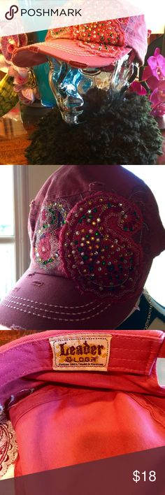 BLINGED OUT CAP VINTAGE STYLE CORAL W/JEWELS NEVER WORE BEEN IN MY CLOSET VERY BLINGED OUT CAP leader Accessories Hats