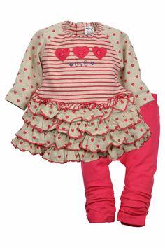 Dirkje babykleding 2 delig setje love beige met roze