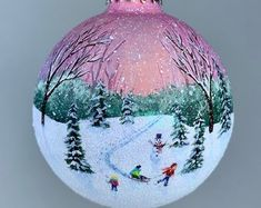 Hand-painted Winter themed Christmas ornaments by ArtwithElise Handpainted Christmas Ornaments, Christmas Ornament Crafts, Hand Painted Ornaments, Holiday Ornaments, Christmas Art, Christmas Wreaths, Christmas Bulbs, Christmas Globes, Outside Christmas Decorations