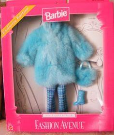 1999 Mattel 22155 Barbie Fashion Avenue Faux Fur Blue Coat Exclusive Ed 1999 | eBay