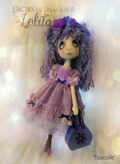 Urchin Lolita - Pascale Cloth Art Doll by Lilliput Loft