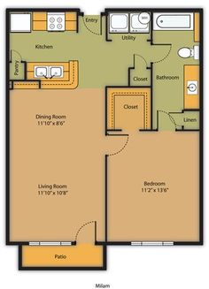 Milam Floor Plan is a One Bedroom/ One Bathroom. 692 square feet.
