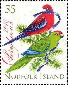 Christmas Parrots  2010 Norfolk Island postage stamp