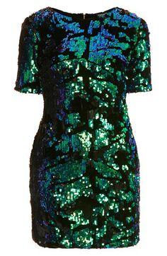 Topshop Sequin Velvet Shift Dress | Nordstrom