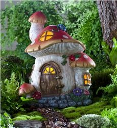 Solar Miniature Fairy Garden Mushroom Cottage