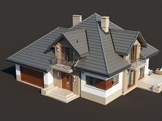 Zdjęcie projektu Opałek II N Modern Bungalow House, Modern Mansion, Modern House Design, Outside House Paint, House Outside Design, Building Design, Building A House, New Model House, Brick Siding