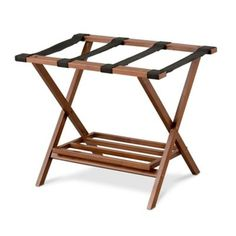 This handsome Folding Luggage Rack is the perfect accessory to your guest room. The hardwood luggage stand has sturdy nylon straps.