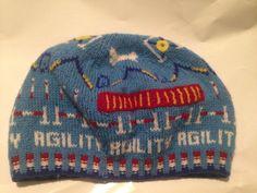 DOG AGILITY - Handmade knit beanie hat - A-frame, weave poles, tunnel, tire jump in Hats | eBay