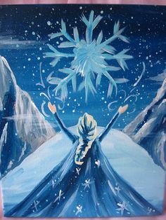 Disney Frozen Queen Elsa Winter Snow Scene- Disney Princess Art work Painting on Canvas/Nursery/Kids/ Girls Room/ Home Decorating Frozen Painting, Diy Painting, Disney Princess Art, Disney Art, Disney Princess Paintings, Olaf Frozen, Disney Frozen, Anna Disney, Frozen Art