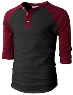 Mens Casual Slim Fit Raglan Baseball Three-Quarter Sleeve Henley T-Shirts Casual Shirts For Men, Men Casual, Casual Tops, Camisa Polo, Long Sleeve Henley, Mens Clothing Styles, Summer Outfits, Summer Clothes, Cool T Shirts
