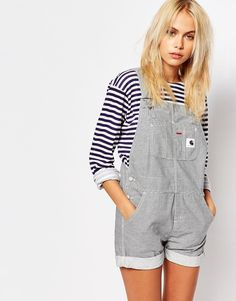 Image 1 ofCarhartt Dungaree Playsuit In Hickory Stripe