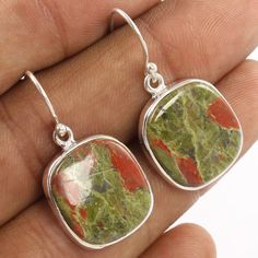 Natural UNAKITE Cushion Gemstone Dangle 33mm Earring 925 Sterling Silver Jewelry #Unbranded #DropDangle