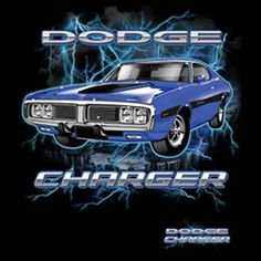Mens Cars and Trucks Graphic Tank Top Vintage Dodge Charger Blue Retro Lightning