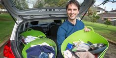 Fabulous idea: Dingwall Trust's Jamie Boyd-Bell and some of the flat packs being given to help young people transitioning out of care into flats of their own Herald News, Young People, High School, Teen, Flats, Household Items, Kiwi, Loafers & Slip Ons, Grammar School