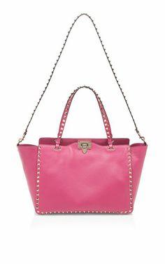 Shop Pop Fuchsia Rockstud Tote by Valentino Now Available on Moda Operandi Stylish Handbags, Cheap Designer Handbags, Women's Handbags, Pink Fashion, Fashion Bags, Runway Fashion, Valentino, Best Tote Bags, Marc Jacobs Handbag