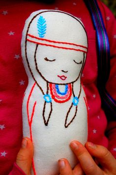 Native American Indian doll/ Linen Plush Doll/ Stuffed Toy/ Decor - JOY - Ready for shipping-Free Worlwide shipping
