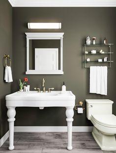 The Painted Walls Bathroom Game - Pecansthomedecor Bathroom Paint Colors, Wall Paint Colors, Green Bathroom Colors, Olive Green Bathrooms, Olive Bedroom, Walk In Shower Designs, Olive Green Walls, Grey Flooring, Bathroom Interior Design