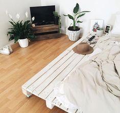 pallet bed white wood hardwood floors bedroom goals plants crate tv stand boho a. Dream Bedroom, Home Bedroom, Bedroom Decor, Bedrooms, Bedroom Setup, Teen Bedroom, Bedroom Inspo, Bedroom Ideas, My New Room