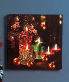 "New Holiday Christmas 12"" Sq Twinkling LED Candle Light Canvas Wall Art Decor   eBay....Nice idea"