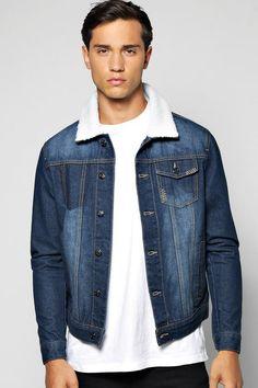 veste en jean à col borg