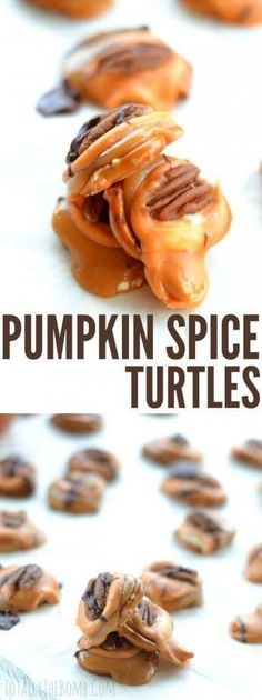 Pumpkin Spice Turtles Delicious Desserts, Dessert Recipes, Fall Desserts, Candy Recipes, Cupcake Recipes, Healthy Desserts, Cooking Challenge, Baked Strawberries, Dark Chocolate Cakes