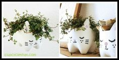 Cat Planter Bowl Personalized Gifts, Eco Friendly, Planter Pots, Recycling, Cat, How To Make, Decor, Decoration, Cat Breeds