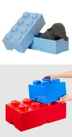 New lego storage brick fun ideas Lego Storage Brick, Diy Toy Storage, Bench With Shoe Storage, Dog Food Storage, Ikea Storage, Storage Baskets, Kitchen Storage, Boys Bedroom Storage, Lego Bedroom