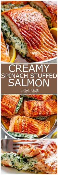 Creamy Spinach Stuffed Salmon in garlic butter is a new delicious way to enjoy salmon! Filled with cream cheese, spinach, parmesan cheese and garlic! | cafedelites.com #cafedelites #seafood #salmon #recipes #dinner
