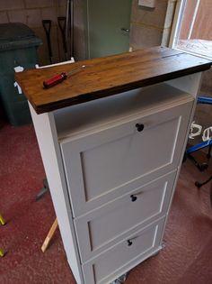 Upcycled Brusali shoe cabinet using old floorboards - IKEA Ikea Shoe Storage, Ikea Shoe Cabinet, Diy Garage Storage, Stair Storage, Entryway Cabinet, Cabinet Storage, Storage Ideas, Shoe Dresser, Home Organization