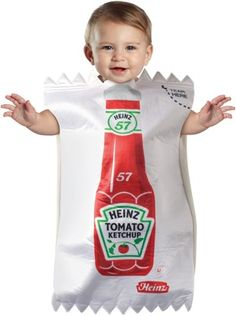 Ketchup Baby Costume via washingtonpost: Squeeze ever so gently!  #Halloween #Costume #Ketchup #Babies