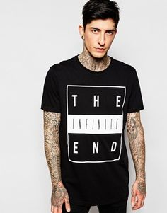 ASOS Longline T-Shirt With Typographic Print In Relaxed Skater Fit