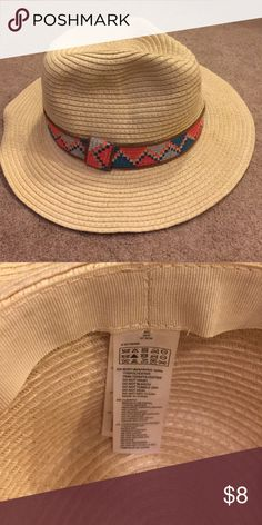 Straw Hat Orange and blue neon band Accessories Hats