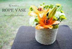 Rope Vase baby shower baby shower ideas baby shower centerpieces baby shower projects rope vase