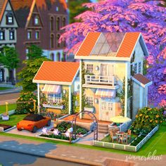 Sims 4 House Plans, Sims 4 House Building, Sims 4 House Design, Casas The Sims 4, Sims 4 Build, Sims 4 Game, Cute House, Sims 4 Mods, Spring Home