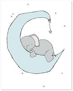Arte de la guardería del elefante: Un conjunto de estampas de elefantes en el cielo de la noche, con Luna y estrellas, un ensueño además de su vivero. Puede personalizar estas impresiones a cualquier color que usted elija, ya sea de la carta de color o una imagen o enlace, házmelo