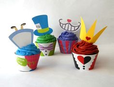 Alice in Wonderland Cupcake Wrappers and Toppers Printable Set Party Decoration