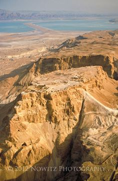 Israel, Masada, in the Syrian African Rift Valley, aerial view on a clear day.