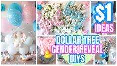 Gender Reveal Decorations Diy, Baby Shower Decorations For Boys, Gender Reveal Gifts, Pregnancy Gender Reveal, Pregnancy Photos, Gender Party, Baby Gender Reveal Party, Reveal Parties, Dollar Tree