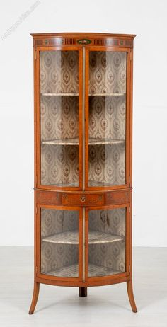 Pretty Satinwood Bow Corner Cabinet - Antiques Atlas Antique Corner Cabinet, Antique Display Cabinets, Glass Door, Victorian, Bows, The Originals, Antiques, Pretty, Furniture