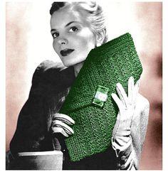 Vintage Crochet Pattern 1940s Envelope Purse Diamond Clutch Handbag Digital Download PDF