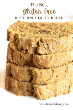 Hidden veggies in a moist and delicious gluten free quick bread? Nobody will know this butternut squash quick bread is healthy because it tastes so good. One of the best gluten free quick bread recipes! fearlessdining Gluten Free Dinner, Gluten Free Desserts, Gluten Free Recipes, Good Gluten Free Bread Recipe, Quick Bread Recipes, Butternut Squash Bread, Hidden Veggies, Healty Dinner, Healthy