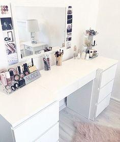"IKEA ""Malm"" desk (white) desk Source by Teen Room Decor, Bedroom Decor, Sala Glam, Ikea Malm Desk, Rangement Makeup, Vanity Room, Tumblr Rooms, Glam Room, White Desks"