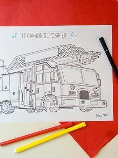 coloriage d'un camion de pompier avec sa grande échelle