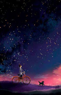 Starlit bike ride