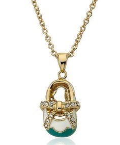 Loving this Gold & Turquoise Shoe Pendant Necklace on #zulily! #zulilyfinds