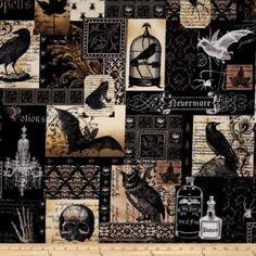 Nevermore Skulls Spells Bats Potions Gothic Quilting Fabric | love