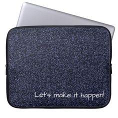 Custom text dark blue faux glitter computer sleeve - glitter glamour brilliance sparkle design idea diy elegant
